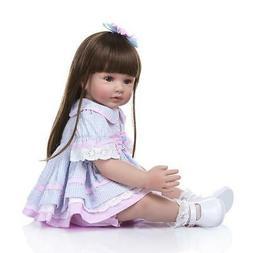 "24"" Toddler Reborn Baby Dolls Handmade Vinyl Silicone Girl D"