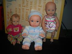 "3 BABY DOLLS & CLOTHES LOT~ALL VINYL~11-13"" ASHTON DRAKE, ME"