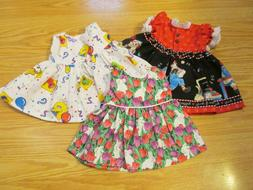 """3 DRESSES fit BITTY BABY & 15/ 16"""" Doll Raggedy Ann, Ses"""