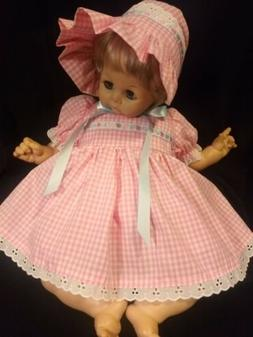 "3 PIECE GINGHAM DRESS SET FOR 22"" MADAME ALEXANDER BABY DOLL"