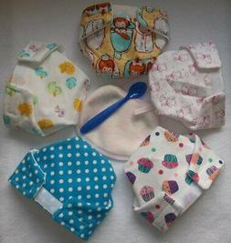 5 BABY DOLL CLOTH DIAPERS BABIES DUCK CUPCAKE DOT FIT SOME B