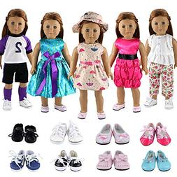 BARWA 5 Sets Clothes Dress Outfits with Accessories and 2 Pa