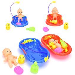 5Pcs Baby Doll in Bath Tub & Duck+Shower Accessory Set Kid R