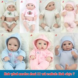 7 style Doll Clothes Sets Suit  for 11 inch Reborn Baby Doll