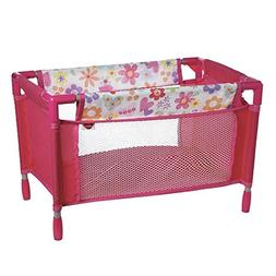Adora Pink Floral Playpen Bed Crib Toy with Carry Bag for Ba