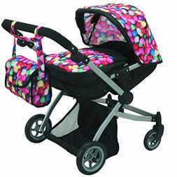 Babyboo Deluxe Twin Doll Pram/Stroller Gumball & Black with