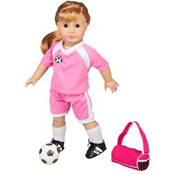 "Dress Along Dolly Soccer Outfit for American Girl and 18"" Do"