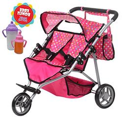 Exquisite Buggy, Twin DOLL Jogger Stroller with Diaper Bag,