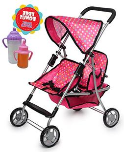 Exquisite Buggy, Twin Doll Stroller with 2 FREE Magic Bottle