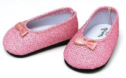 Light Pink Glitter Shoes, Fits 18 Inch American Girl Dolls,