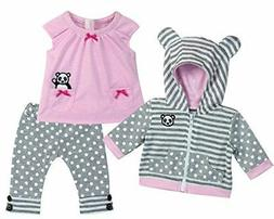 Sophia's 15 Inch Baby Doll Outfit in Pink & Gray, Complete 3