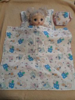 ABC letters blanket, pillow and diaper cloth for baby dolls