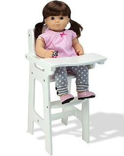 Affordable Doll High Chair in White with Heart Cutout Design