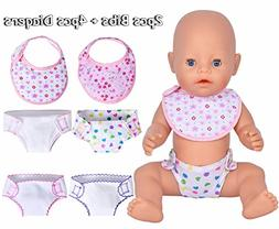 ebuddy 4 Pack Diapers and 2 pcs Bids for 14-18 Inch Baby Dol