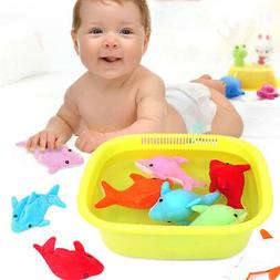 Baby Bath Toys Colorful Dolphin Swimming Water Absorption Ea