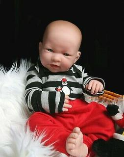 """Baby Boy Real Reborn Doll w/Accessories 17"""" Toy Gift Soft Vi"""