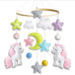 Baby Crib Mobile by Giftsfarm, Unicorn Baby Mobile for Girl