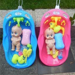 Baby Doll Bath Time Pretend Play Bathtub Toys Set Kid Birthd