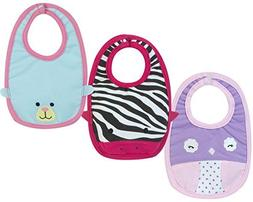 Sophia's Baby Doll Bib Set, 3 Baby Bibs with Animal Faces fi
