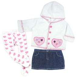 15 Inch Baby Doll Outfit, Pink Heart Print Tights, Denim Ski
