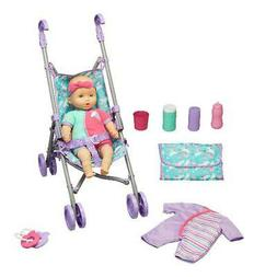 Baby Doll Stroller Play Set 10 Pieces Stroller Folds Kid Con