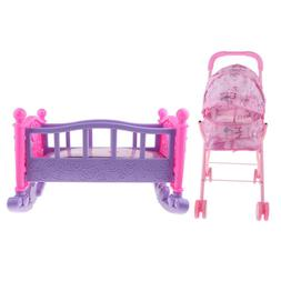 Baby Doll Stroller Trolley with Foldable Hood and Rocking Be