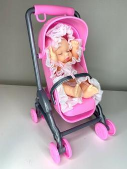 """Baby Doll Stroller With 5"""" Sleeping Baby Doll Girl & Conve"""