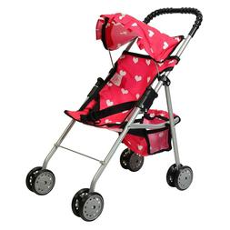 Baby Doll Stroller with Basket Heart Design Foldable Pink Ca