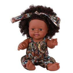Baby Doll w/ Brown Curly Hair, Floral Overalls for 3 Year Ol