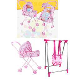 Baby Nursery Room Furniture Decor Doll ABS Swing Stroller Ki