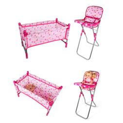 Baby Nursery Room Furniture Decor Doll Pink High Chair Bed K