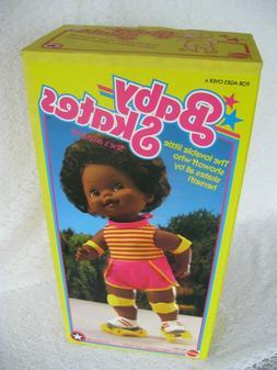"Mattel Baby Skates African American 15"" Skating Doll 1982 Wo"