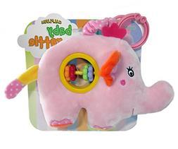 """Calplush Baby World, 8"""" Elephant Plush Rattle Toy Plush Doll"""