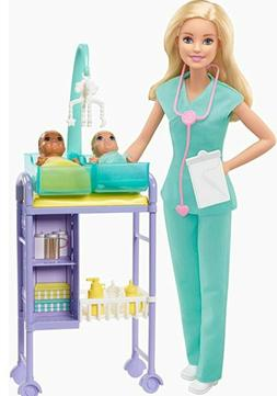 Barbie Mattel Baby Doctor Playset with Blonde Doll, 2 Infant