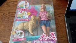 Barbie Newborn Pups Doll & Pets Playset, Blonde