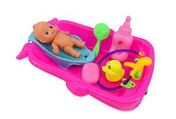 Bathtime Doll Bath Set Mini Whale Bathtub Toy with Baby Doll