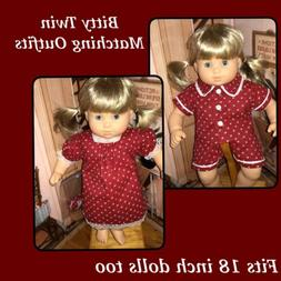 Bitty Twin/baby Or American Girl Doll Matching Outfits/pajam