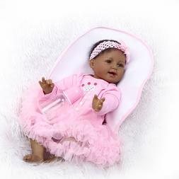"Black Dolls 22"" Handmade Soft Silicone Baby Reborn Baby Doll"