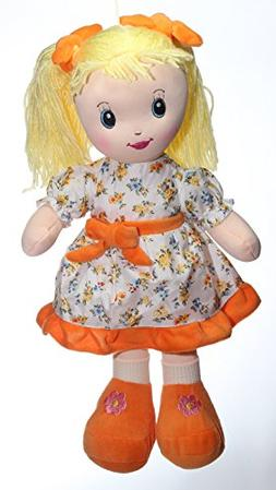"""Calplush 12"""" Blonde Hair Girl with Pigtails and Flower Dress"""