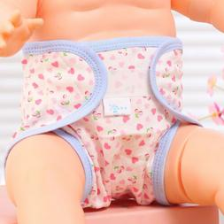 Cartoon Print Cloth Diapers For Reborn Baby Dolls Washable A