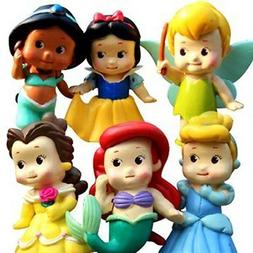 """Set of 6 Chunky Baby Toddler Princess 2"""" Figures Featuring T"""