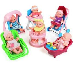 """Click N' Play Set of 8 Mini 5"""" Baby Girl Dolls with Accessor"""