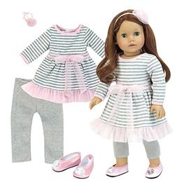 Complete 18 Inch Doll Outfit | 4 Pc Set | Gray and White Str