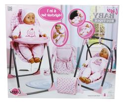 Lissi Convertible Doll Highchair Play Set with Accessories R