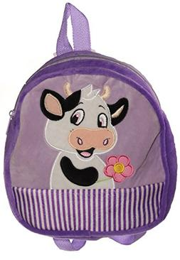 "Calplush Cute 10"" Animal Character - Cow Kid's Plush Backpac"