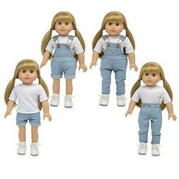 denim overalls for 18 inch dolls light