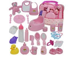 Baby Doll Diaper Bag Set, Doll Feeding Set with Baby Doll Ac