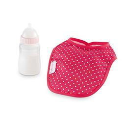 Corolle Dmt96 Magic Feeding Bottle & Bib Set, Cherry - New,