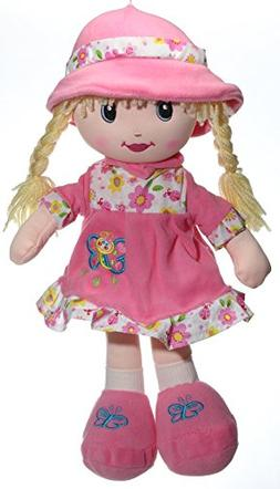 "Calplush 12"" Doll with Blonde Hair and Pink Hat Animal Plush"