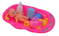 Elvozvets Baby Doll Bath Time Set, Girls Pretend Play Bath T